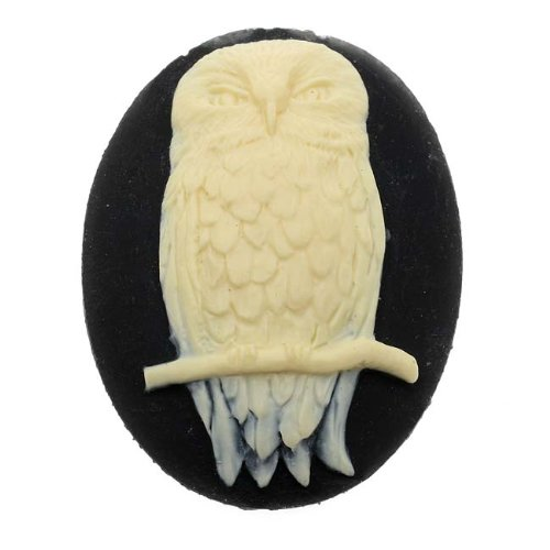 Beadaholique Vintage Style Lucite Oval Cameo Black with Ivory Perched Owl 40x30mm (1)
