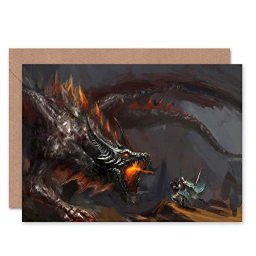 Wee Blue Coo Dragon Knight FIRE Breathing Blank Greetings Birthday Card Art