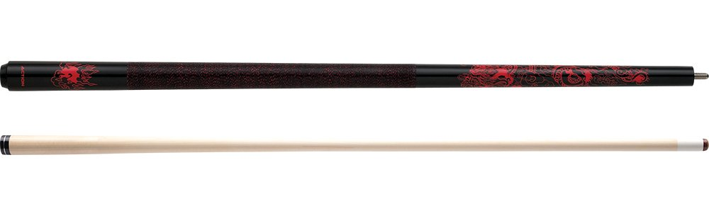 Action Impact IMP16 red Oriental Dragon Pool Cue Stick with 12 Pieces of Master Billiard Chalk