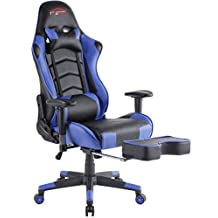 Top Gamer Ergonomic Gaming Chair PC Computer Chairs for Gaming with Footrest(Blue/Black)
