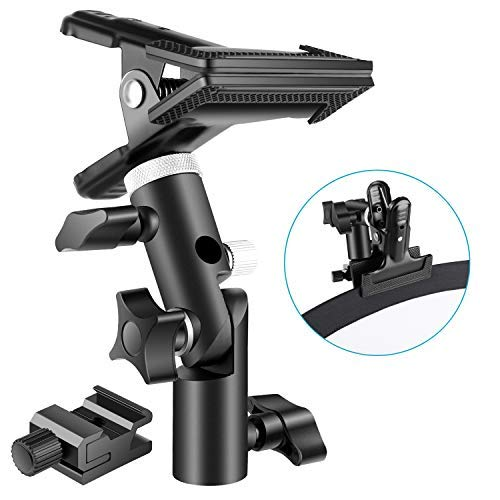 (Neewer Photo Studio Heavy Duty Metal Clamp Holder and Cold Shoe Adapter for Clamping Reflector or Mounting Speedlite Flash and Umbrella on Light)