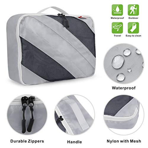 Idefair Travel Packing Cubes, 3Pcs Travel Luggage Packing Organizers for Packing Clothes, Grey