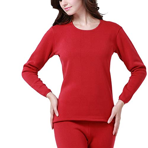 Winter Long Johns Thick Men Thermal Underwear Sets Keep Warm for Russian Canada and European Women,Women Red,XXXL