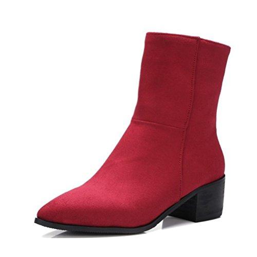 Ei&iLI Printemps des femmes / automne / hiver Bootie simili cuir extérieur / bureau & talon Chunky carrière / Casual , red , 43