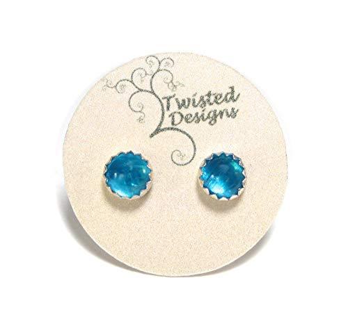 Blue Apatite Stud Earrings in Sterling Silver 5mm