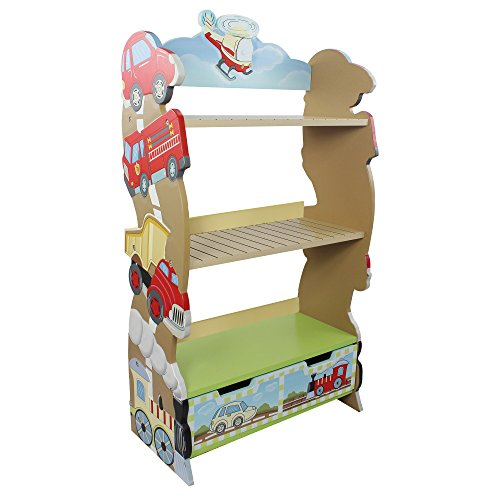 (Fantasy Fields Transportation Wooden Kids Bookshelf with Hand Crafted Designs & Toy Storage)