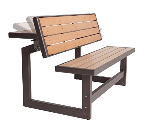SUPERNOVA WAREHOUSE LLC Practical Outdoor Metal Park Bench in Brown with Table Conversion, Made of Powder Coated Steel Frame, Weather Resistant, Easily Converts from Bench to Table Bench Conversion