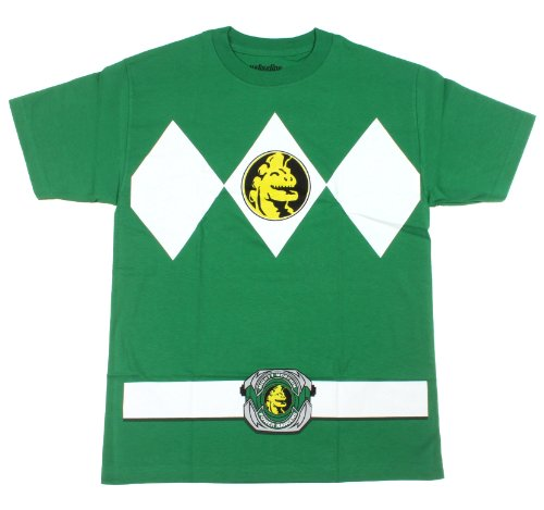The Power Rangers Green Rangers Costume Adult T-shirt Tee, Green, Small