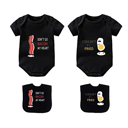 YSCULBUTOL Baby Bodysuits for Unisex Boys Girls Long Sleeve White Twin Clothes Boy Girl Perfect Together Newborn to 12 Months (Black, 6-12 Months)