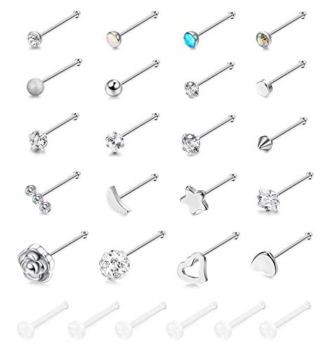 (YADOCA 20G 26 Pcs Stainless Steel Stud Nose Rings L Shaped Screw Nose Stud Body Piercing Jewelry for Women Men CZ Inlaid)