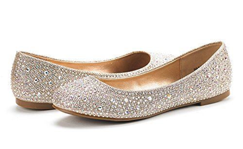 DREAM PAIRS Womens Sole-Shine Rhinestone Ballet Flats Shoes Gold 1y6rKDPccE