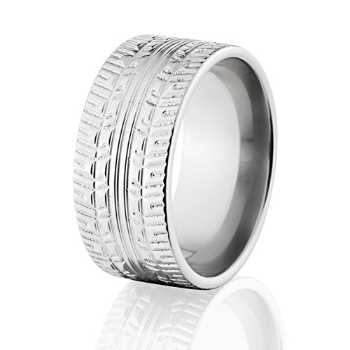 Cobalt Ring Tire Tread Band Cobalt Wedding Bands For Men #1 TJS Brand USA Made To Order by Tire Tread Rings By The Jewelry Source