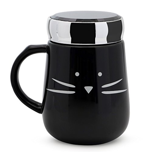Koolkatkoo Ceramic Cat Coffee Mug, Gifts for Women Cat Lovers Cute Travel Mug with Mirror Lid for Girls 16 oz Black