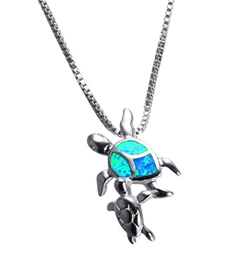 Smiling Wisdom - Blue Fire Opal Sea Turtle Totem Animal Necklace Gift Set - Sea Turtle Totem Spirit Animal Guide Greeting Card - Box Chain - 925 Silver Filled & Stamped - For Her, Woman, Teen - Silver