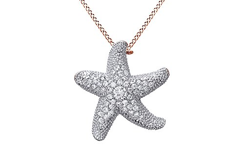 AFFY Cubic Zirconia Nautical Starfish Brooch Pendant in 925 Sterling Silver