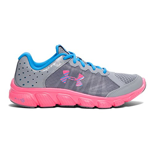 Under Armour Girls' Grade School Micro G Assert 6, Steel/Harmony Red/Electric Blue, 5 M US Big (Grade School Shoes)