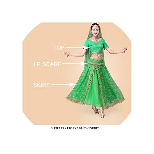 Bollywood Belly Dance Costume Set Indian Dance Bellydance Skirt Suit Women,Dark Green,One Size