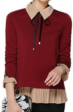 Mujer Camisas y blusas de camiseta de mujer cuello lazo manga ...