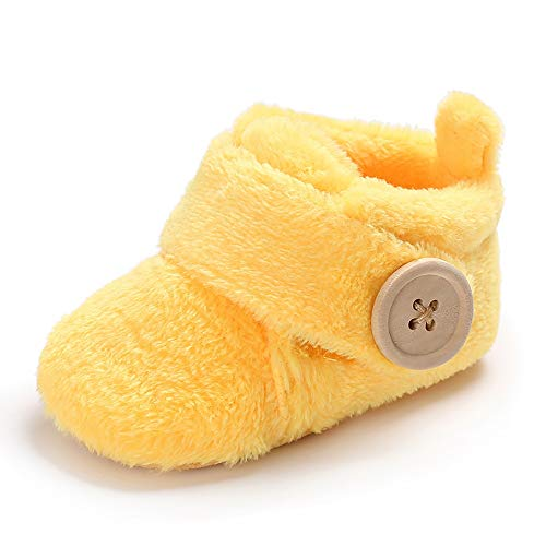 Wollanlily Newborn Baby Girls Boys Slippers Warm Fur Infant Toddler Boots Slip On Booties Shoes (Yellow Large Size 12-18 Months)