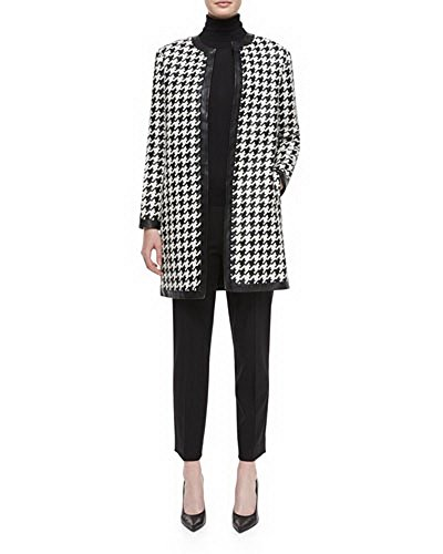 Angel&Lily Combo Faux Leather & Houndstooth Tweed Jacket Plus 2X Black&White