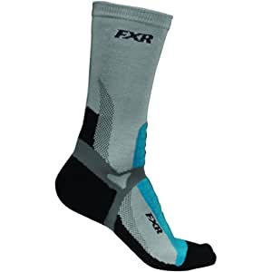 FXR Team Womens Long Socks Black/Cyan Blue