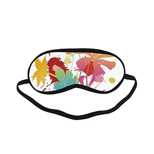 Colorful Fashion Black Printed Sleep Mask,Hawaiian Beach Party Theme with Lively Flowers Abstract Summertime Composition for Bedroom,7.1