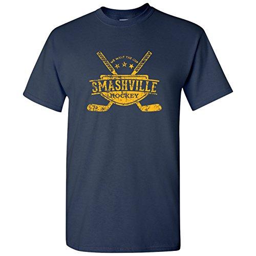 Smashville Hockey Basic Cotton T-Shirt - 3X-Large - Navy