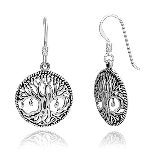 (925 Sterling Silver Detailed Celtic Tree of Life Round Dangle Hook Earrings)