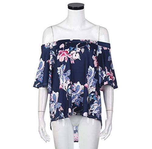 Vintage Fashion Estivi Collo Manica Stampa Bluse Maglietta Rotondo Basic Fiore Corta Eleganti Sciolto Casual del Senza Bretelle Donna Camicetta Tops Ragazza TwZqrZg5
