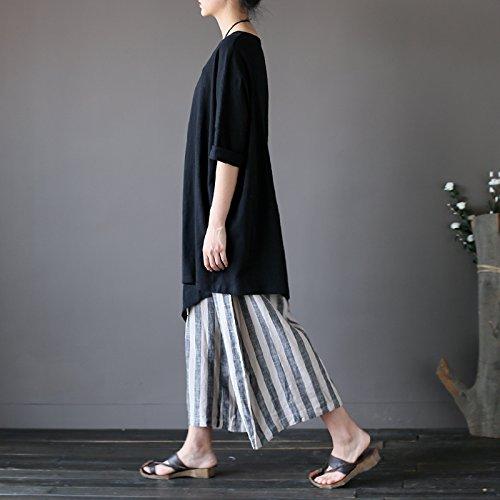 Couleur Irrégulier Simple Aeneontrue Femme Manche Noir Coton Chemise shirt Ourlet Courte T Tops Tunique Chic Pure XzqXF