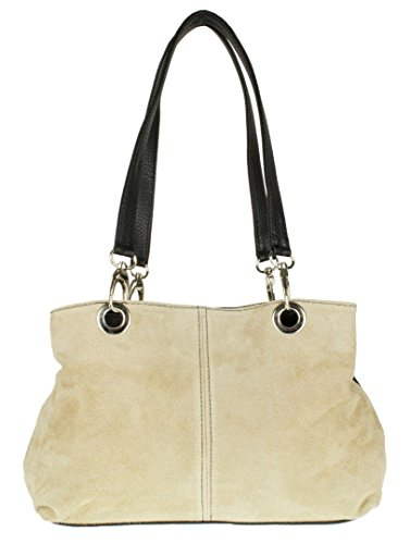 Beige Girly HandBags Bag HandBags Italian Suede Girly Leather Shoulder Italian qzqBr7w