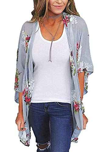- Women's Floral Print Puff Sleeve Kimono Cardigan Loose Cover Up Casual Blouse Tops (XXX-Large, Purple Grey0)