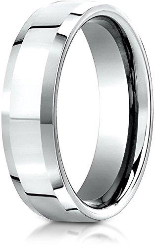 Benchmark 14K White Gold 6mm Comfort-Fit High Polished Carved Design Wedding Band Ring, Size 8.5 ()