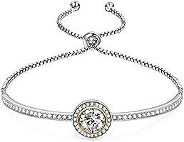 """❤️Cadeau de fête des mères❤️ """"Saturn sans fin"""" Design classique réglable Bracelet jonc avec des cristaux Swarovski bijoux pour Girlfriend épouse Mom -une boîte-cadeau de luxe inclus"""