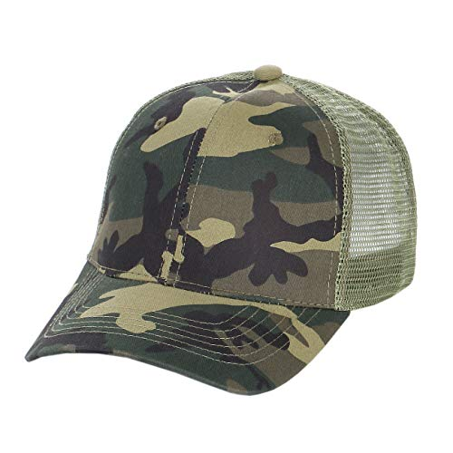 (Shinabro Camouflage Camourflage Hunting Camo, Mesh Vent Curbed Bill Trucker Baseball Cap for Men, Olive Mesh)