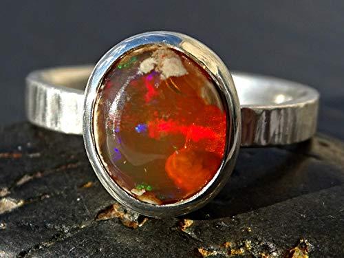 fire opal ring silver, fire opal engagement ring, matrix opal ring, organic opal ring, Mexican fire opal ring fire opal jewelry gift for her