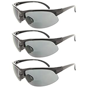 Fiore 3 Pack Bifocal Sun Reader Sport and Wrap Around Reading Sunglasses Unisex Half Frame Readers for Men and Women [3 Black, 2.50]