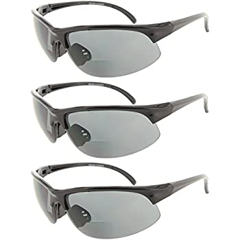 41ca1a95802b Fiore 3 Pack Bifocal Sport Wrap Reading Sunglasses Readers for Men and  Women  1.50