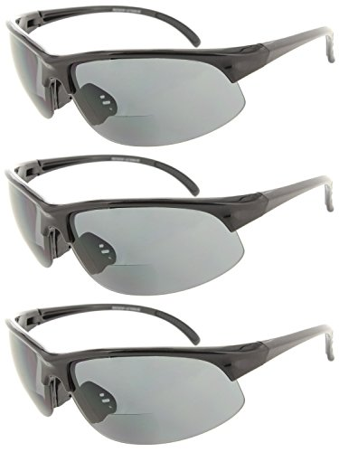 e985a501afa Fiore 3 Pack Bifocal Sport Wrap Reading Sunglasses Readers for Men and Women   2.25
