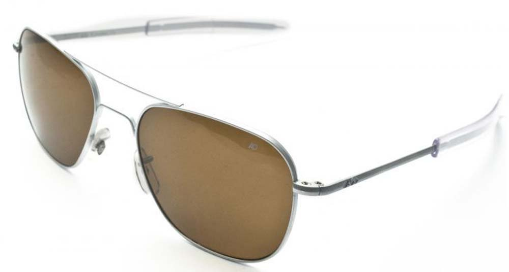 AO Eyewear American Optical Original Pilot Bayonet 52mm Matte Chrome Cosmetan Polarized