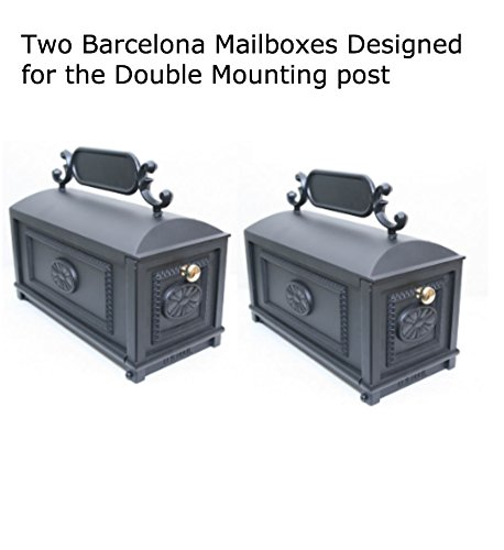 Outdoor Curbside Residential Mailbox with Address Plaque, 8x8x7 Inches 2 Mailboxes for Double Mounting Post, Decorative Heavy Duty Cast Aluminum