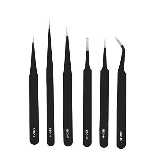 Anti Magnetic Tweezer - Shintop Anti-Static ESD Tweezers - Pointed Tweezers Anti-Magnetic, Anti-Acid Stainless Steel Tweezers Set for Laboratory Work, Electronics, Jewelry-Making (Pack of 6, Black)