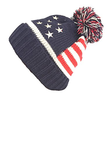 Women Men American Flag Cuffed Knit USA Flag Patriotic Beanie With Pom Pom Winter Hat - Flag Patriotic American