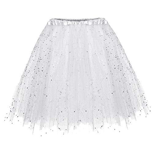 Paillette Sleeveless Short - Vibola Womens Paillette Elastic 3 Layered Short Skirt Adult Tutu Dancing Skirt (One Size, White)