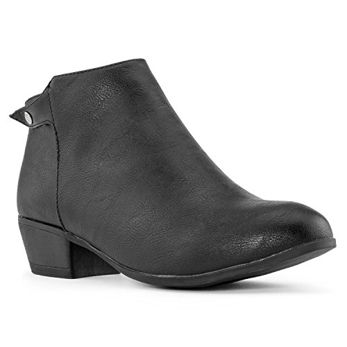 RF ROOM OF FASHION Womens Western Cowboy Side Zip Low Chunky Heel Ankle Boots