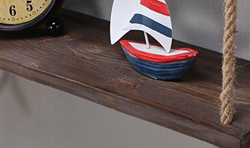 Ripiani In Legno Massello : Scaffale da parete in legno massello mensole con corda da