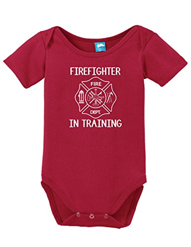 Fire Uniform Shirts (Firefighter In Training Printed Infant Bodysuit Baby Romper Red 3-6)