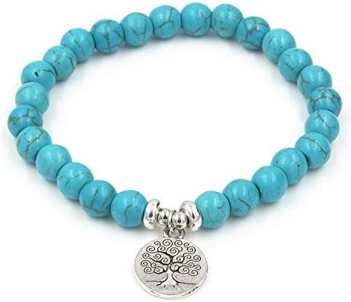 LEIGAGA Pulsera de loto de yoga con cuentas de piedra azul, ónix negro, pulsera de cuentas Mala de un círculo, unisex, creativo, regalo al por mayor