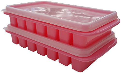 Mini Ice Cube Trays + Lids, Shape Fits Your Water Bottle, Stackable Space Saving Size For Dorm Fridges & Small RV Freezers - No Spills, No Smells by Polar Vortex (Pink) (Cube Ice Trays Space Saving)
