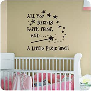 Faith trust and pixie dustnursery room decal wall quote for Good look faith trust and pixie dust wall decal